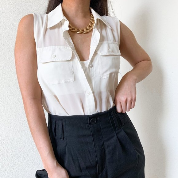 Forever 21 White Button Down Tank Top S